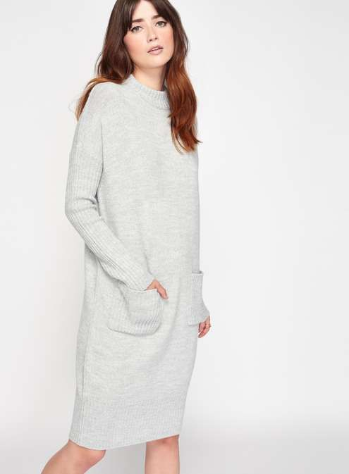 Grey Slouchy Pocket Knitted Dress | Knit dress, Jumpsuit
