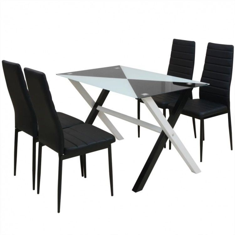 Dining Table Chair Set Of 5 Modern Tempered Glass Stand Black Recliner Seats 218 00end Date Glass Dining Table Set Dining Table Chairs Dining Room Table Set