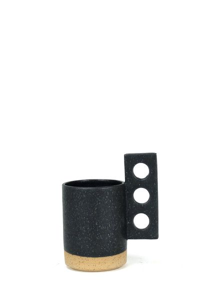 """Handmade in Los Angeles by ceramicist Ben Medansky.  Matte black glaze. Measures about 4.5"""" x 4.75"""" x 4"""".  Use as art object,drinking vessel or small planter!"""