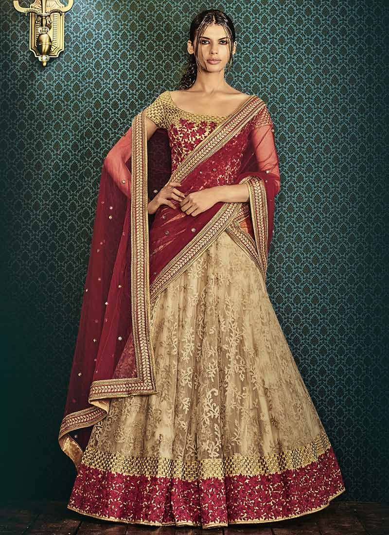 423cbcbd5a Buy Ae Dil Hai Mushkil Beige Net Umbrella Lehenga Choli online from the  wide collection of umbrella-lehenga. This Beige colored umbrella-lehenga in  Net ...