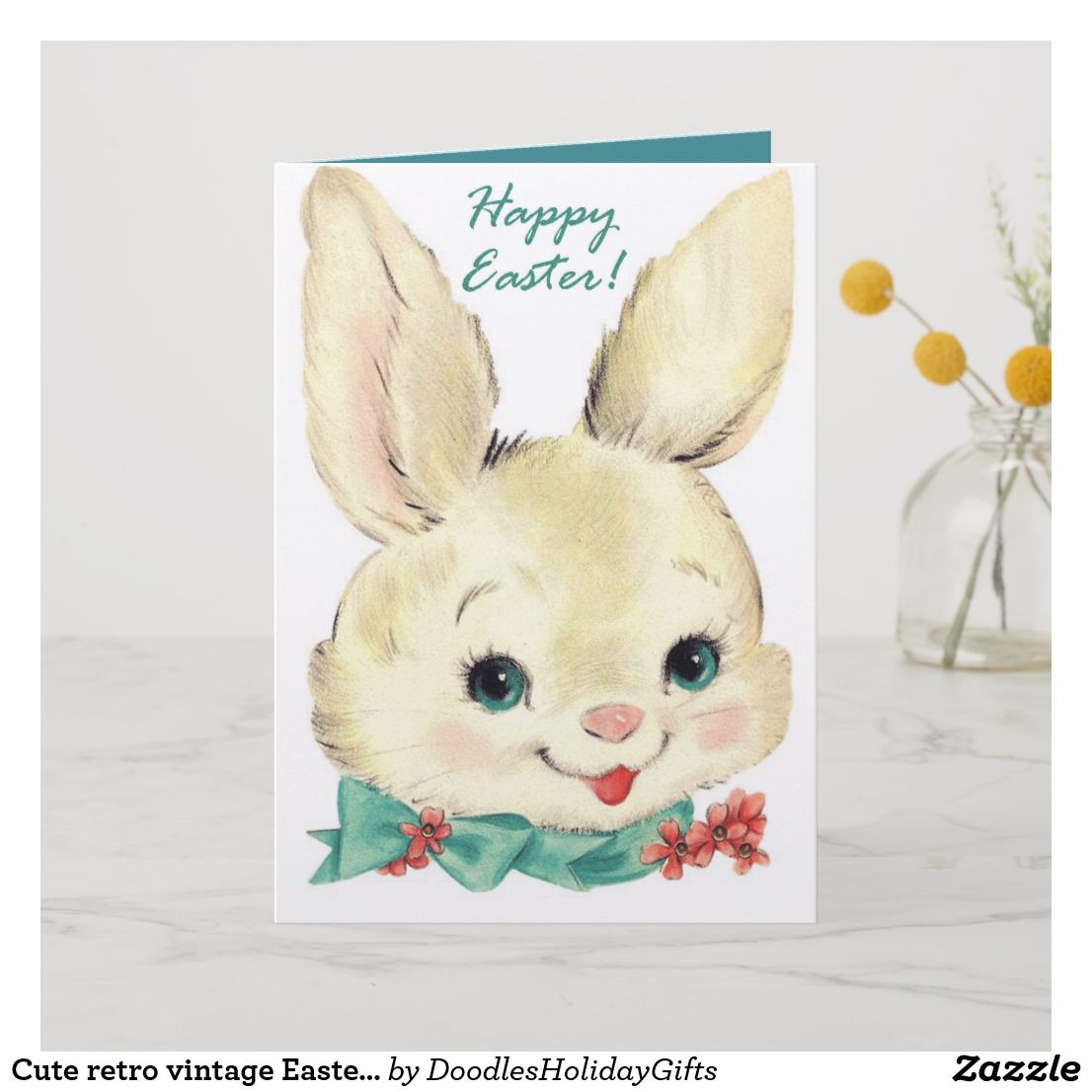 Cute retro vintage easter bunny add message holiday card