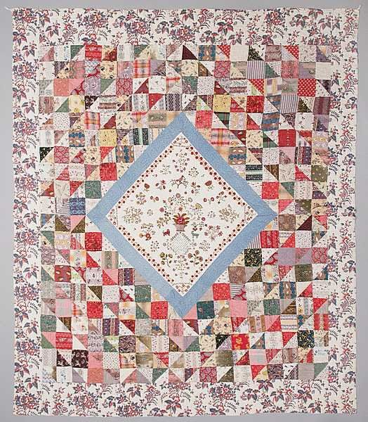 74: A fine patchworked and embroidered quilt by Mary Staveley 1833 East Yorkshire