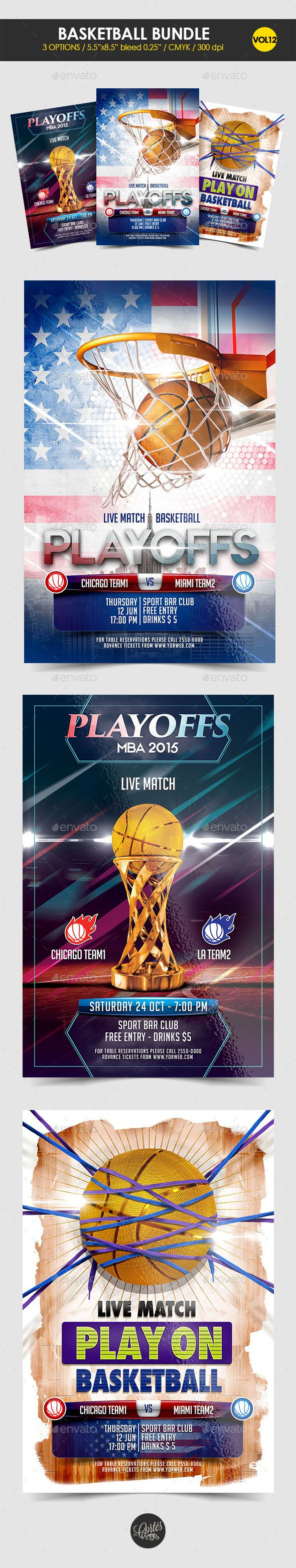 Basketball Flyer Bundle Vol 12 By Srcortes Features Size 5585 With 025 BleedMode CMYKFiles Included 3 PSD 300 Dpi Help FileFonts Used CWG