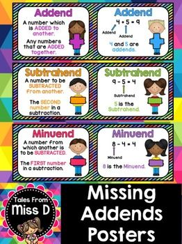 Missing Addends  This pack of Missing Addends Posters displays definitions and examples for Addends, Subtrahends & Minuends. There are 6 posters in total.