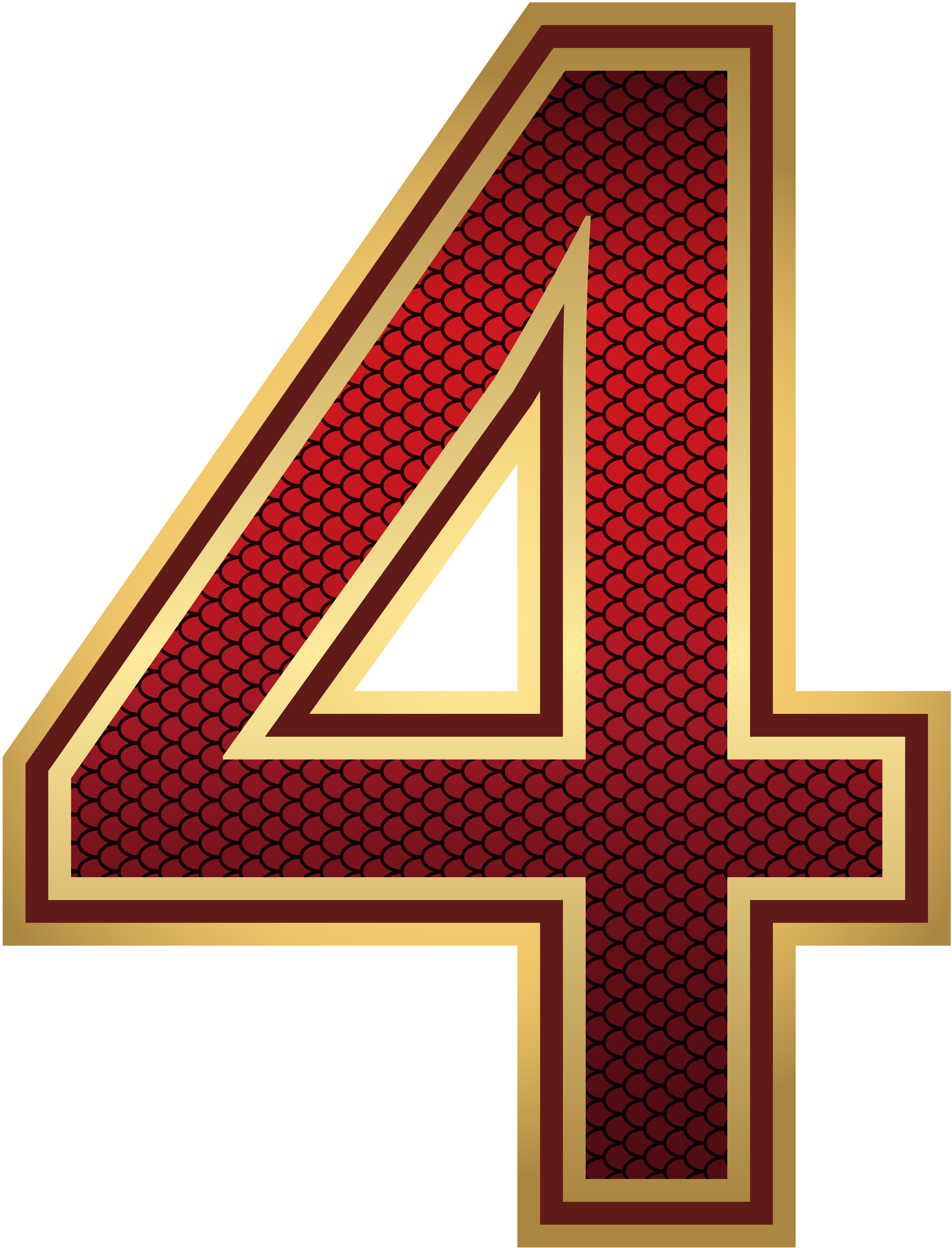 Red And Gold Number Four Png Image Gallery Yopriceville High Quality Images And Transparent Png Free Cl Red And Gold Alphabet Letters Design Free Clip Art