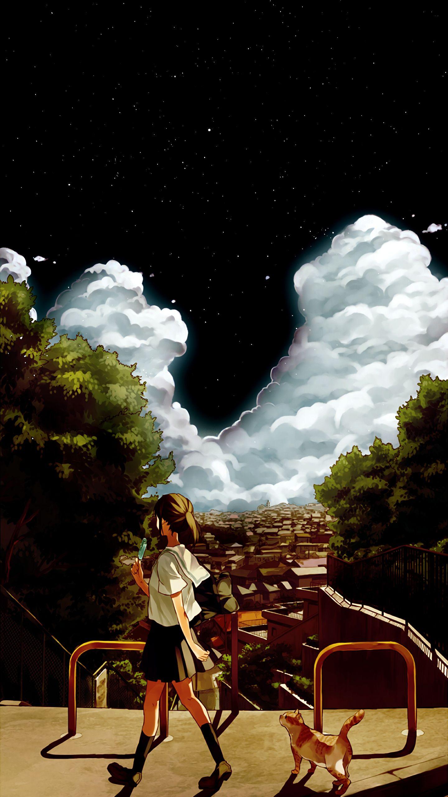 Amoled Anime Landscape Wallpaper Cloud Wallpaper Landscape Wallpaper Dark Wallpaper Desktop amoled anime wallpaper