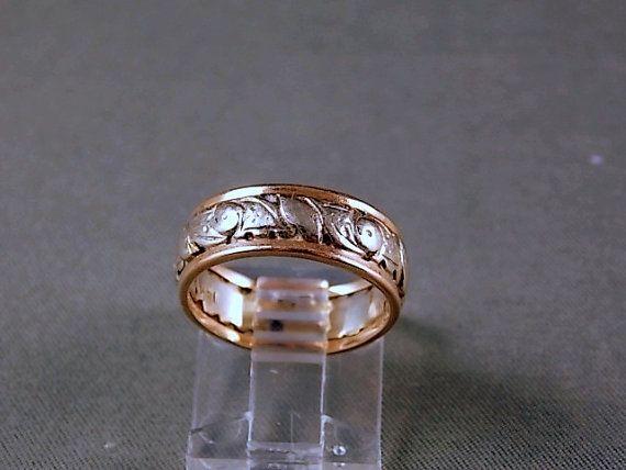 Vintage Two Tone Gold Pierced Wedding Ring By Estatejewelryshop