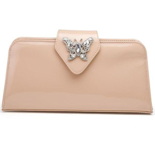 Butterfly Clutch in Nude Patent Leather (495) found on Polyvore