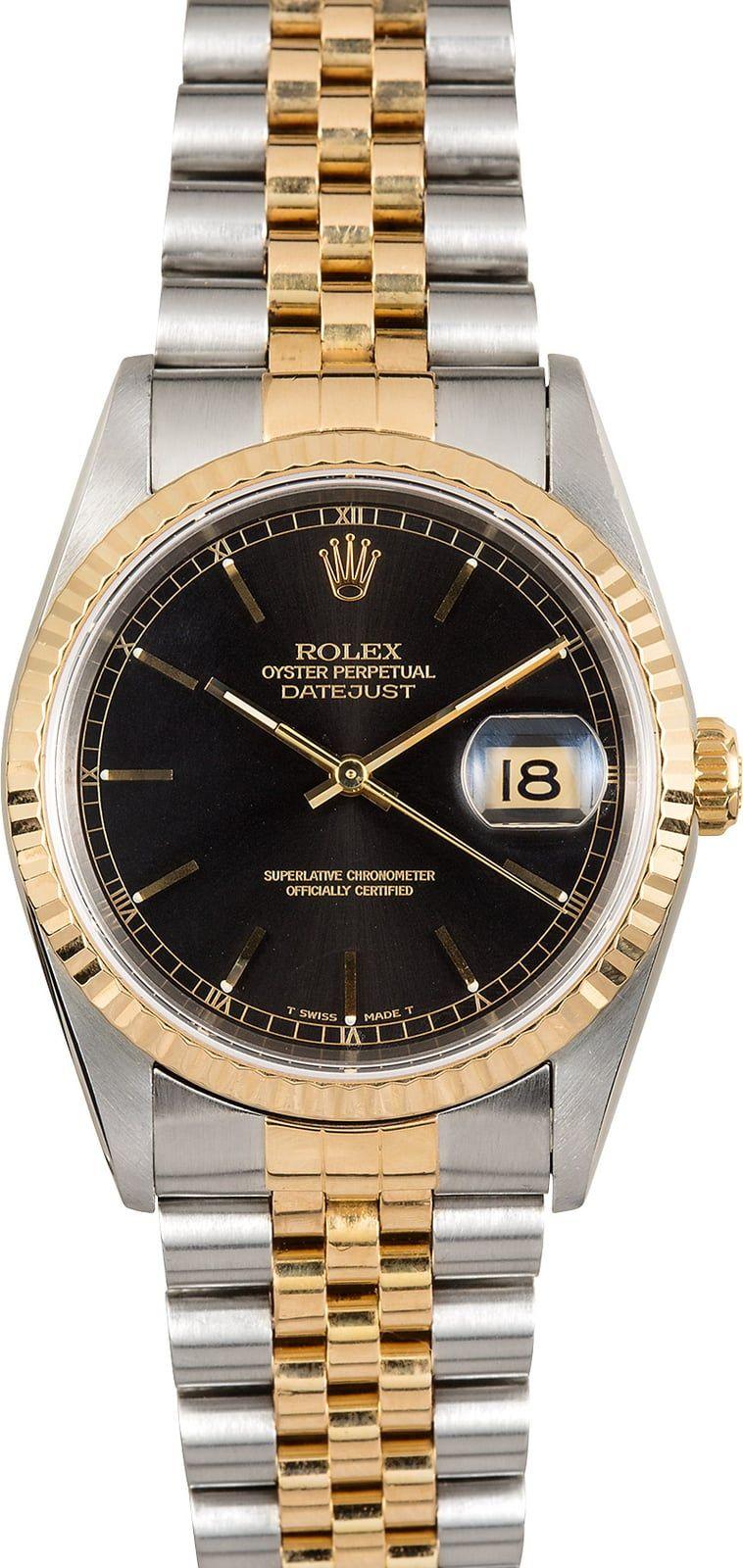 Rolex Steel And Gold Datejust 16233 Black Dial Rolex Rolex Models Datejust