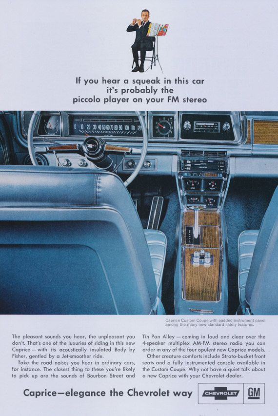 1966 Chevrolet Caprice Car Vintage Ad FM Stereo by