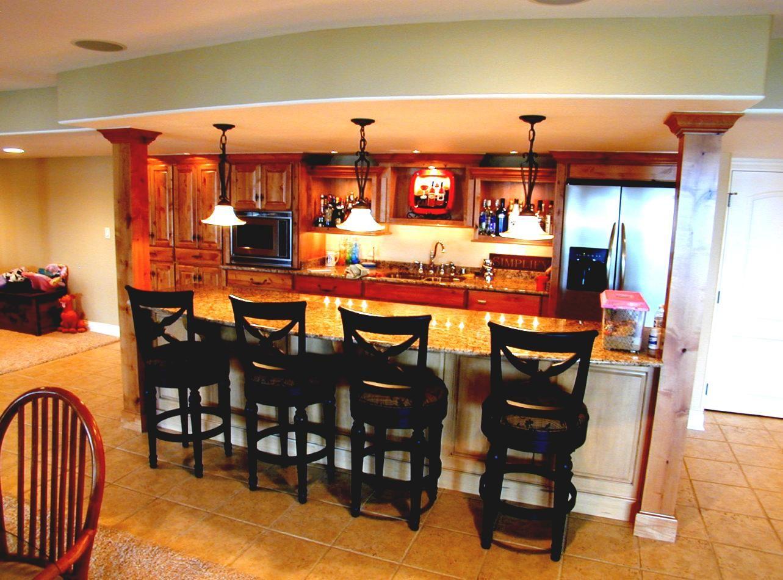 Basement kitchen idea for open layout basement bar ideas