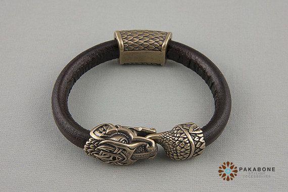 qualité incroyable meilleur pas cher couleurs délicates Viking Bracelet with Jormungandr - Leather Wristband with ...