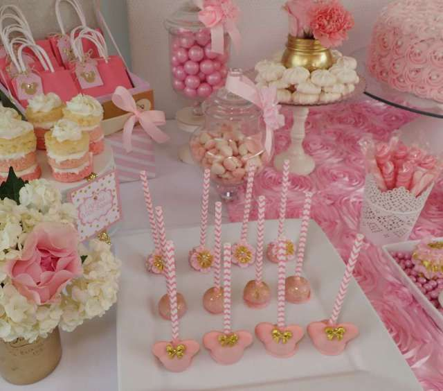 Minnie mouse en dorado y rosa cumple cumplea os y victoria - Decoracion de cumpleanos rosa y dorado ...