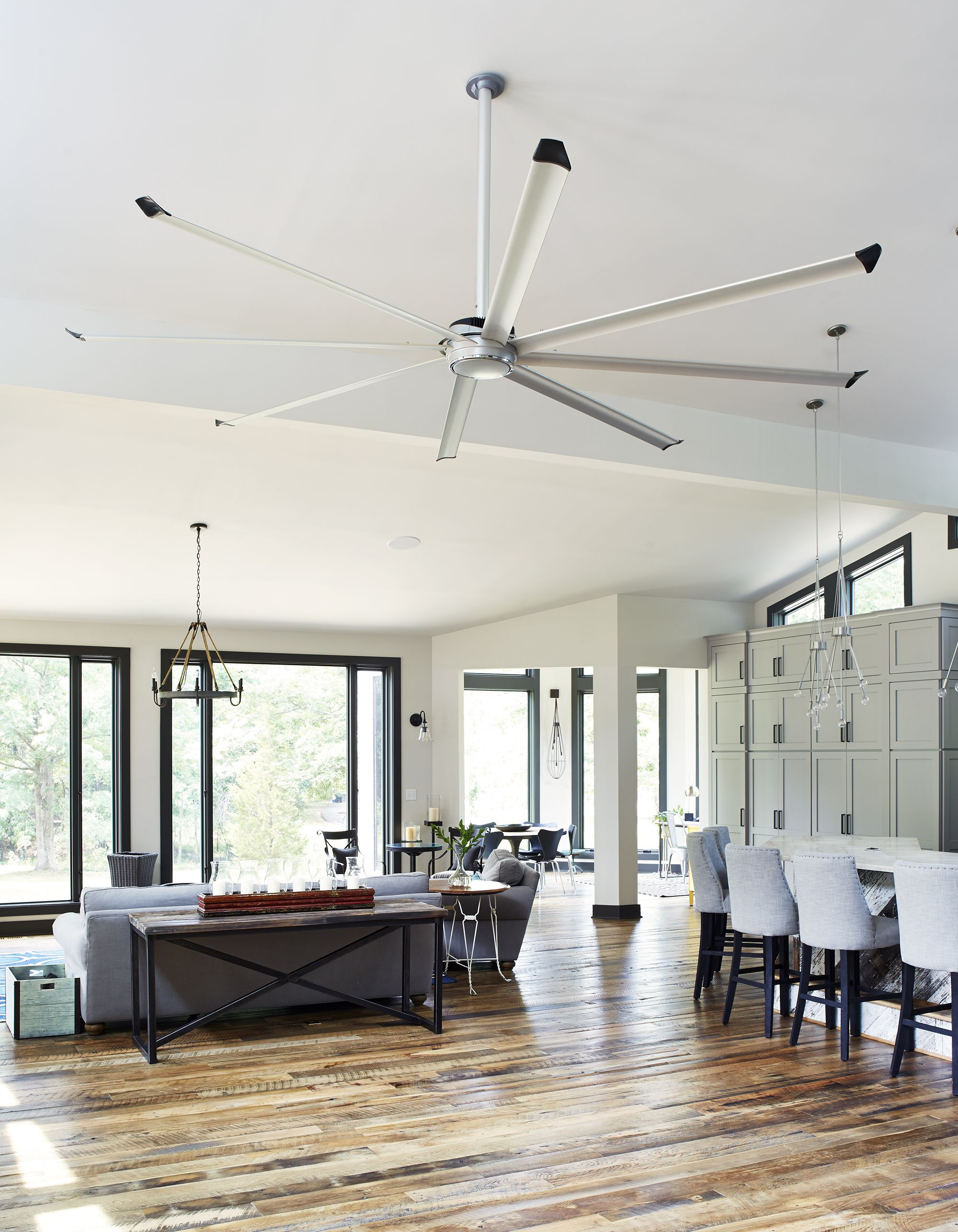 Essence Ceiling Fan Installed In The Salhab Residence Living Room. #essence  #bigassfans #