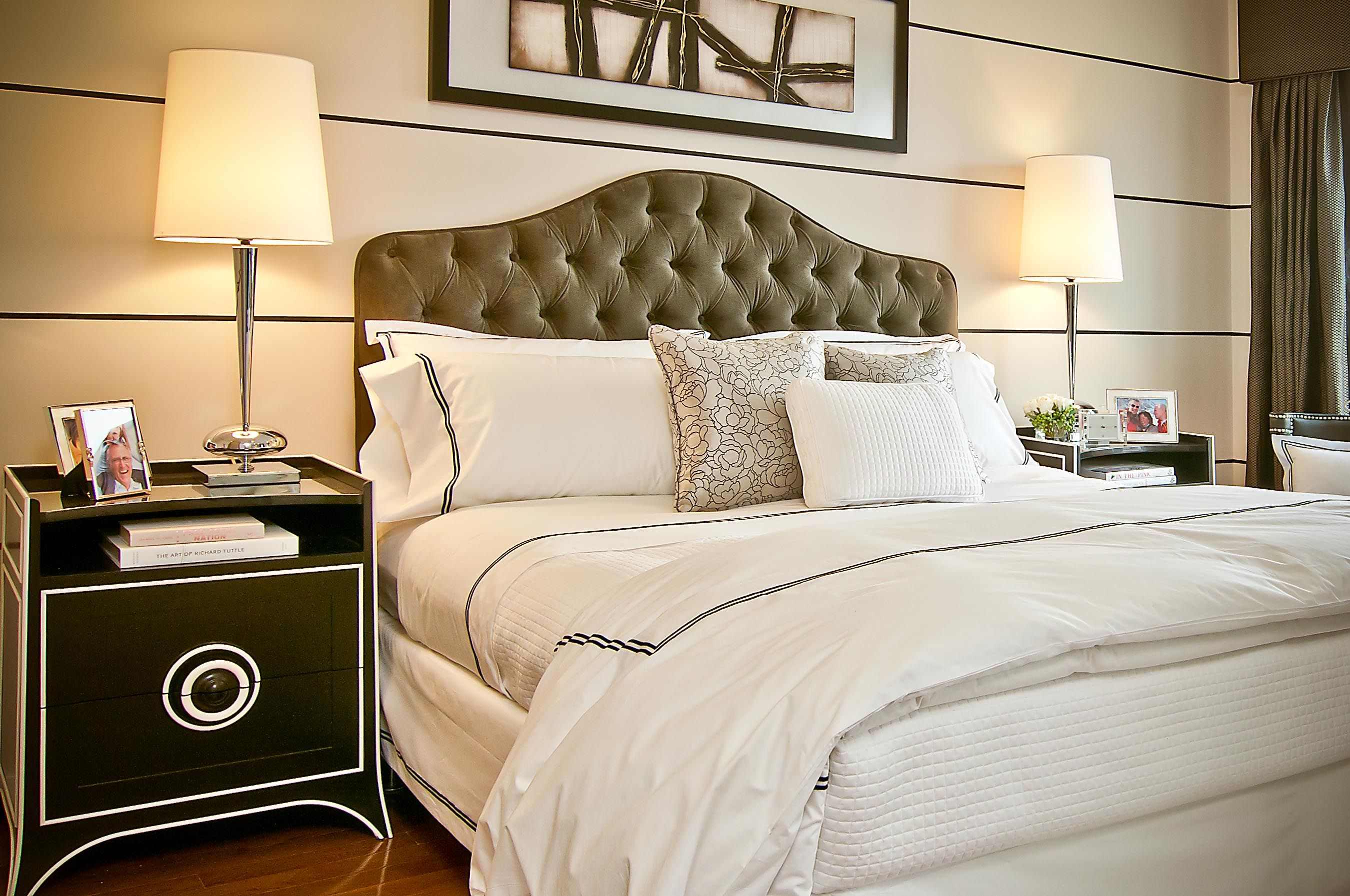 Elegant master bedroom with transitional (traditional