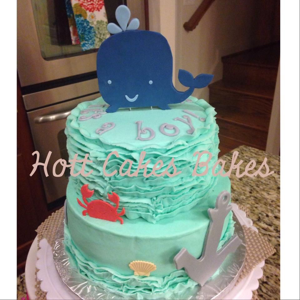Whale & Anchor themed baby shower cake. Navy, gray and turquoise.