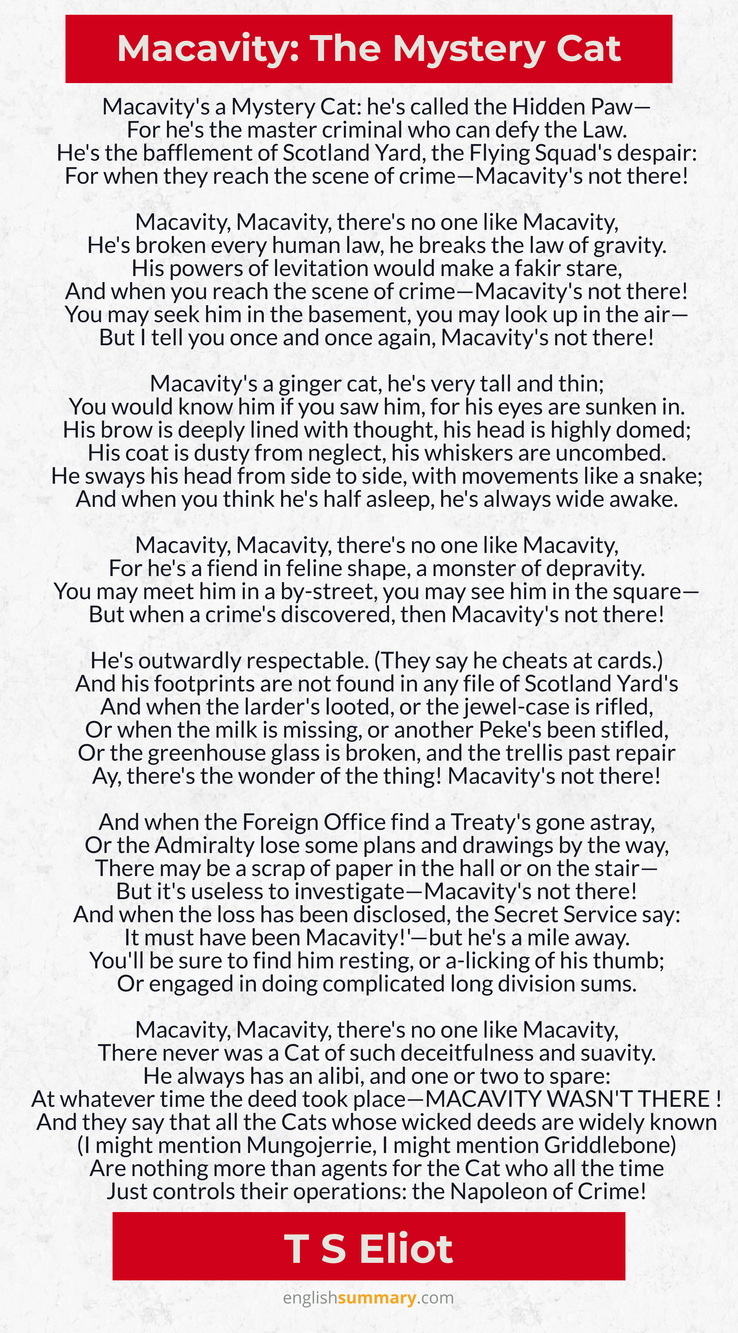 Macavity The Mystery Cat Poem by TS Eliot in 2020 Cat