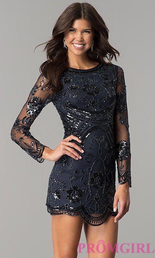 Long Sleeve Short Sequin Homecoming Dress Long Sleeve Homecoming Dresses Formal Prom Dresses Prom