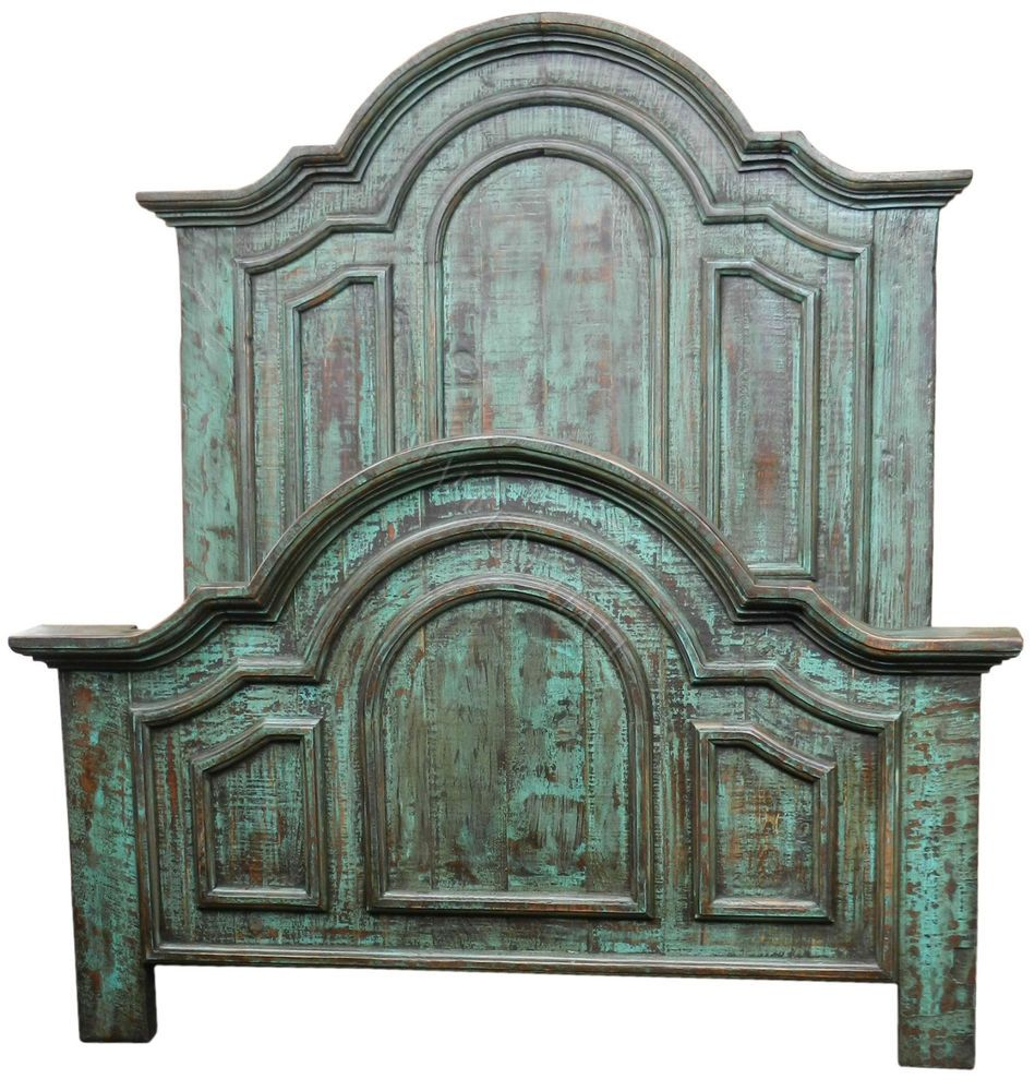 Distressed Turquoise Reclaimed Solid Wood Panel Bed In King Or Queen #MalleryHallCollection