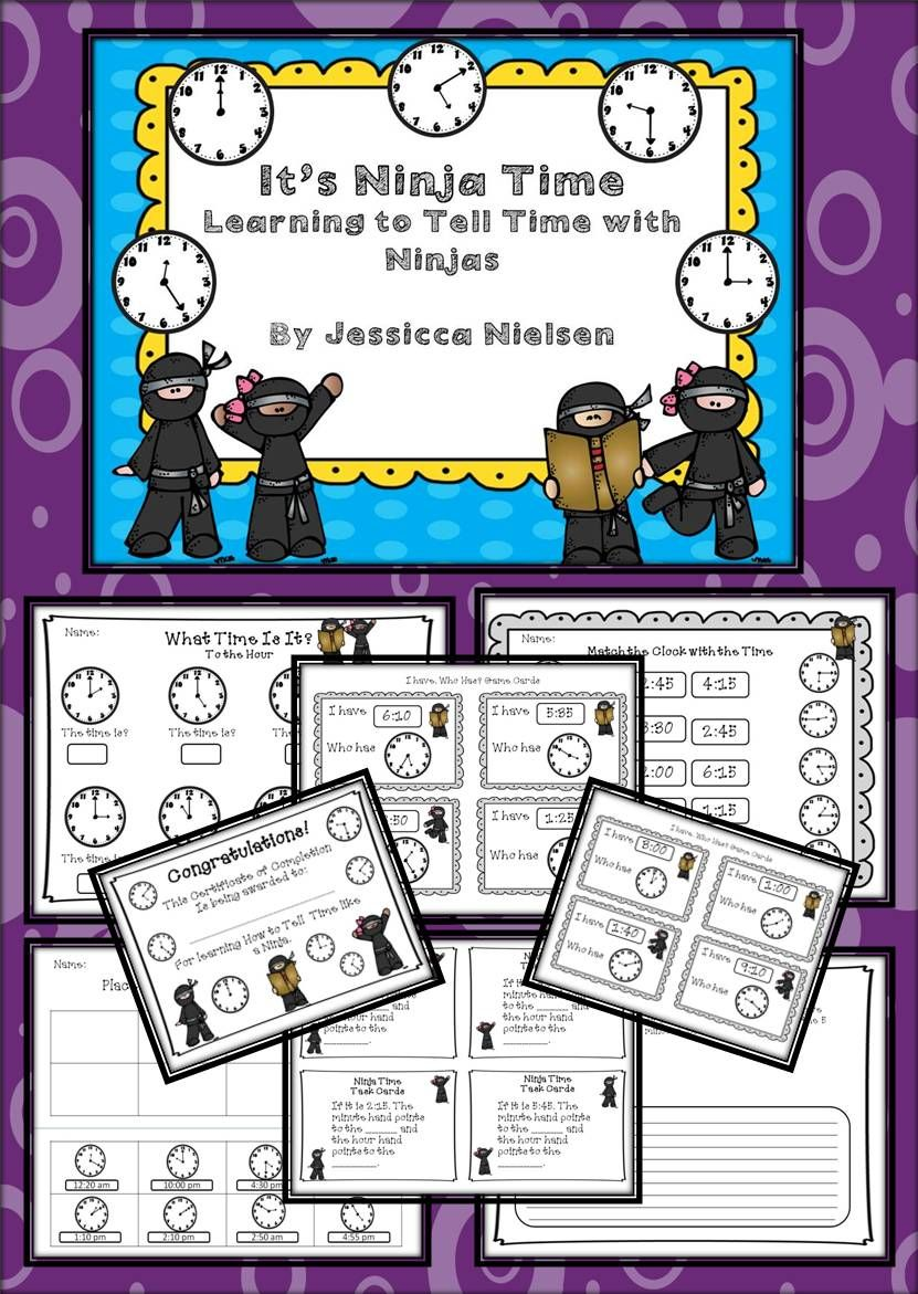 Workbooks ninja worksheets : Telling Time with Ninjas (to the hour, half hour, and 5 minutes ...