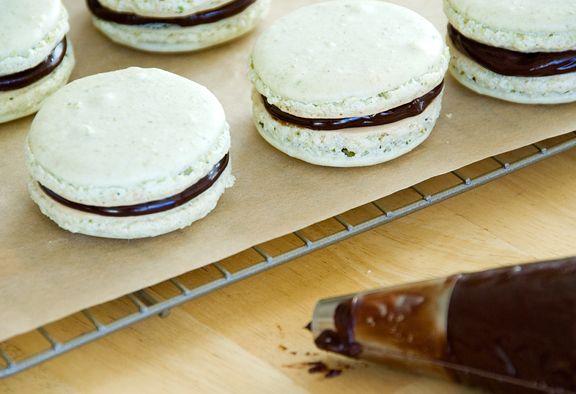 Pistachio macarons with chocolate ganache filling