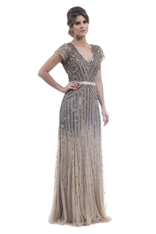 50d9dcc3d Vestido Longo Vintage Bronze. Marca: Adrianna Papell. Vestido em tule com  faixa de