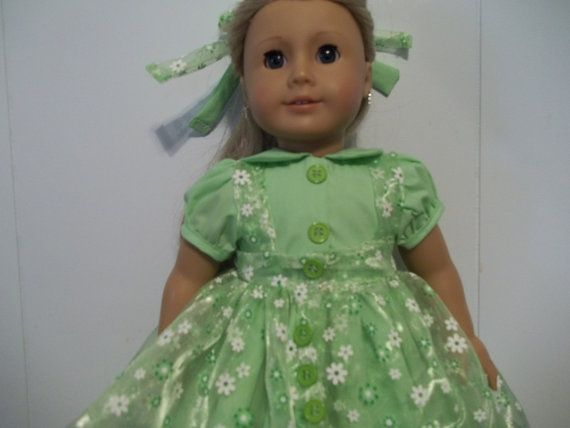 American Girl party dress with printed by Marshasminiatures, $25.00