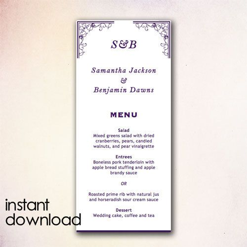 DIY Wedding Menu Template Instant Download by CheapoBride on Etsy - menu templates microsoft word