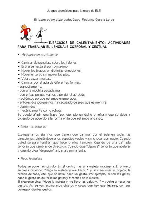 Técnicas Teatrales Para La Clase De Ele By Maria Carilla Juegos De Expresion Corporal Juego Dramático Adivinanzas Y Trabalenguas