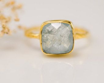 Aquamarine ring - March Birthstone Ring - Gemstone Ring - Stacking Ring - Gold Ring- Cushion Cut Ring