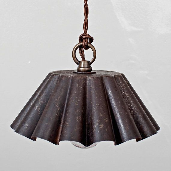 Brioche Tin Pendant Light - Ebonized Rust Patina (LG ...