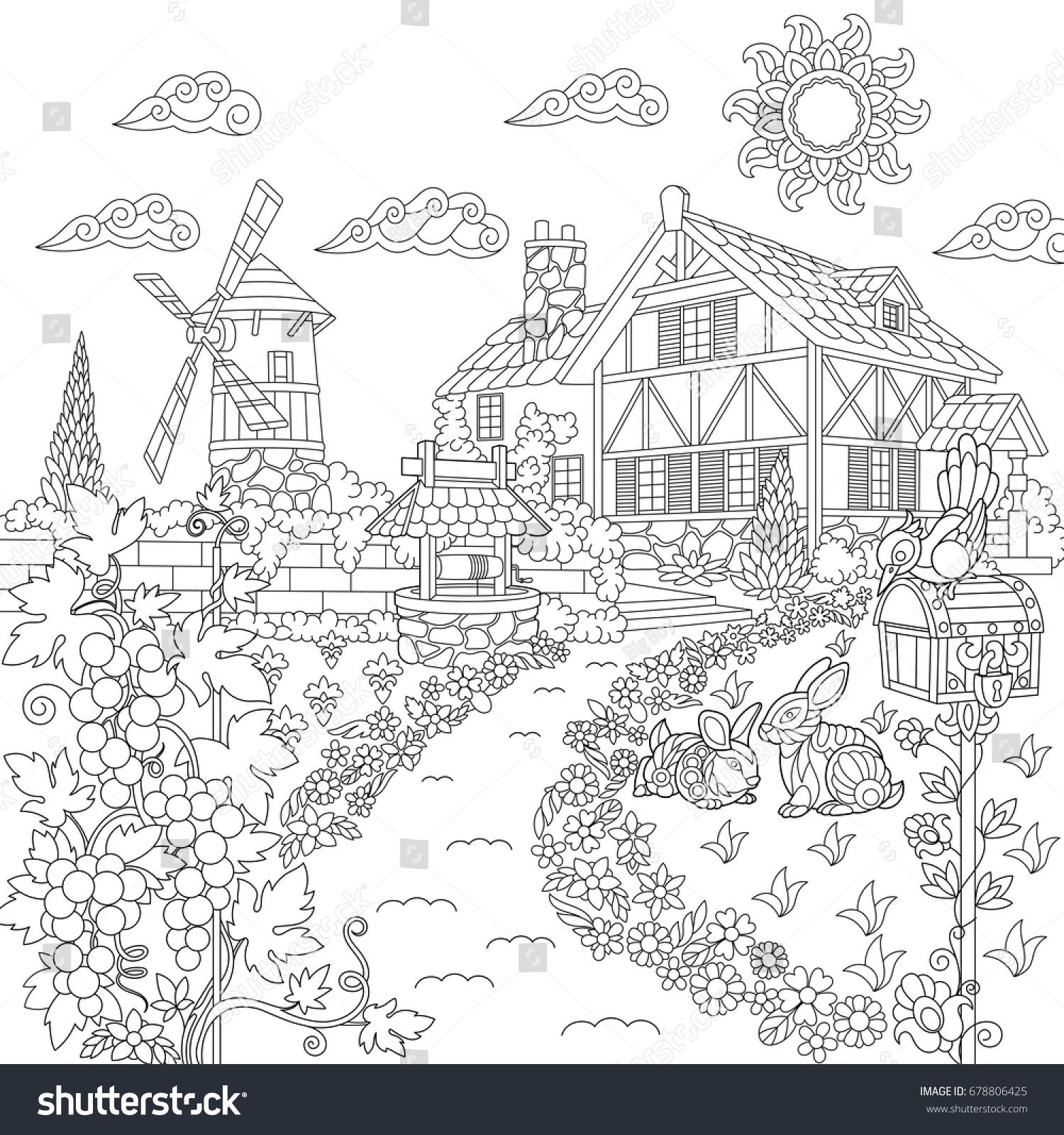 Coloring Book Page Of Rural Landscape Farm House Windmill Water