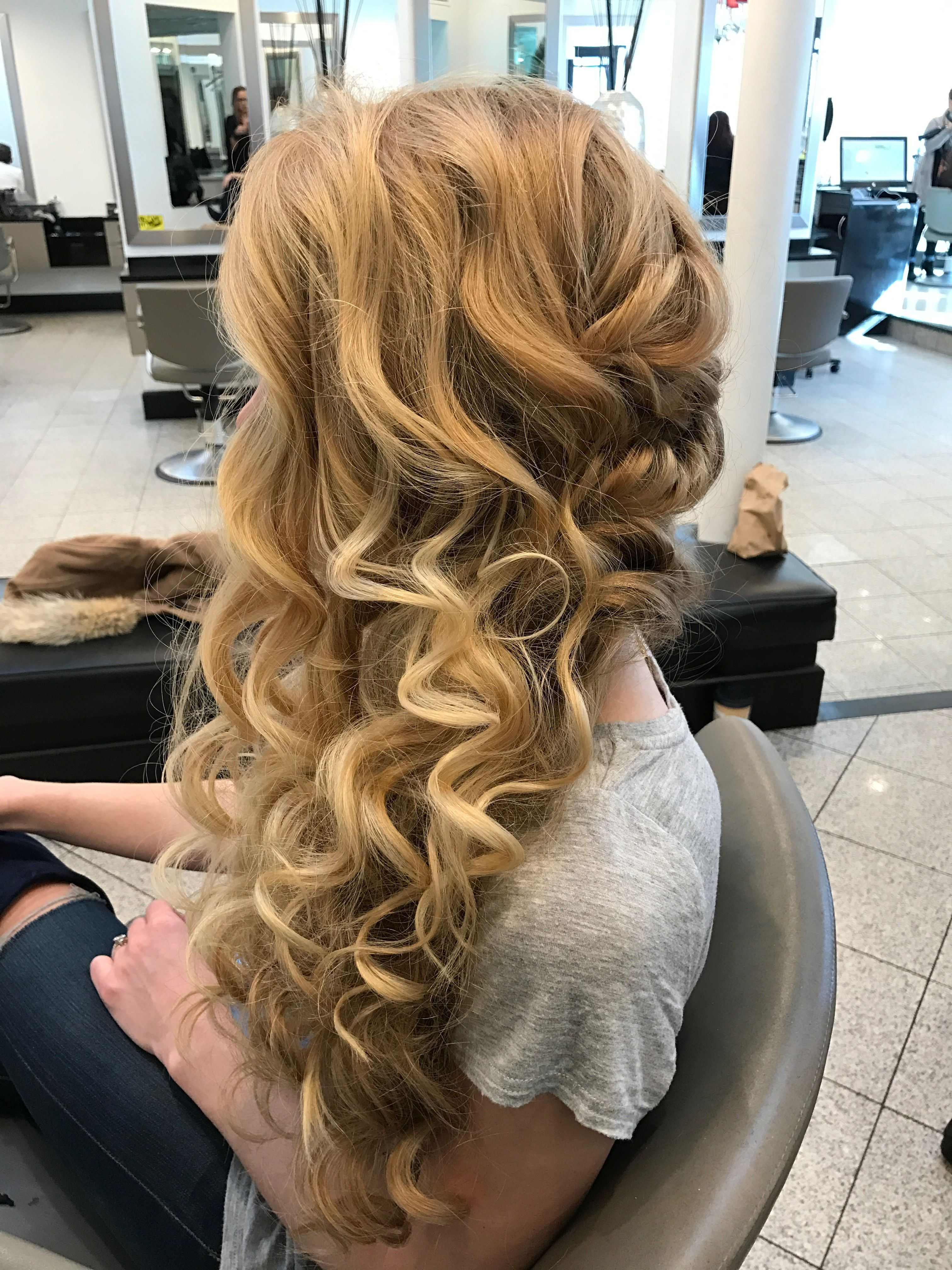 Romantic curly wavy bridal updo Hair By Me Pinterest