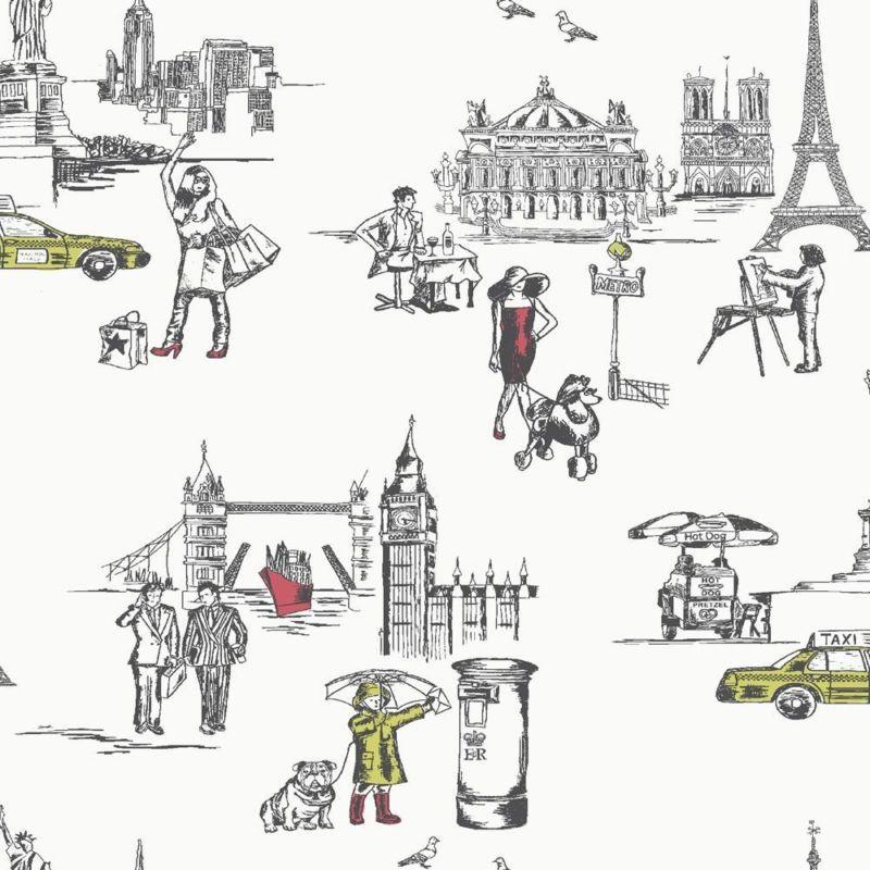 La Vie Ordinaire New York Paris London Statement Wallpaper Perfect Way To Tie The Girls Favorite Cit Wall Stickers Wallpaper Feature Wallpaper B Q Wallpaper