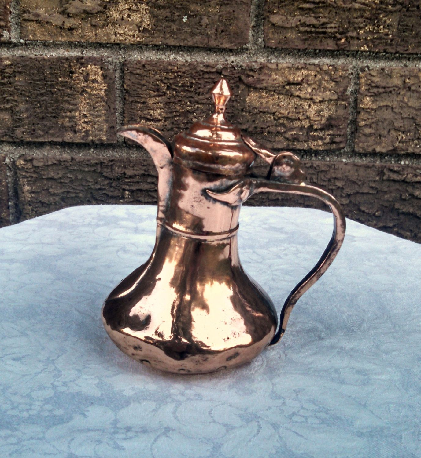 Antique 6 Inch HandHammered Copper Arabic Dallah Coffee
