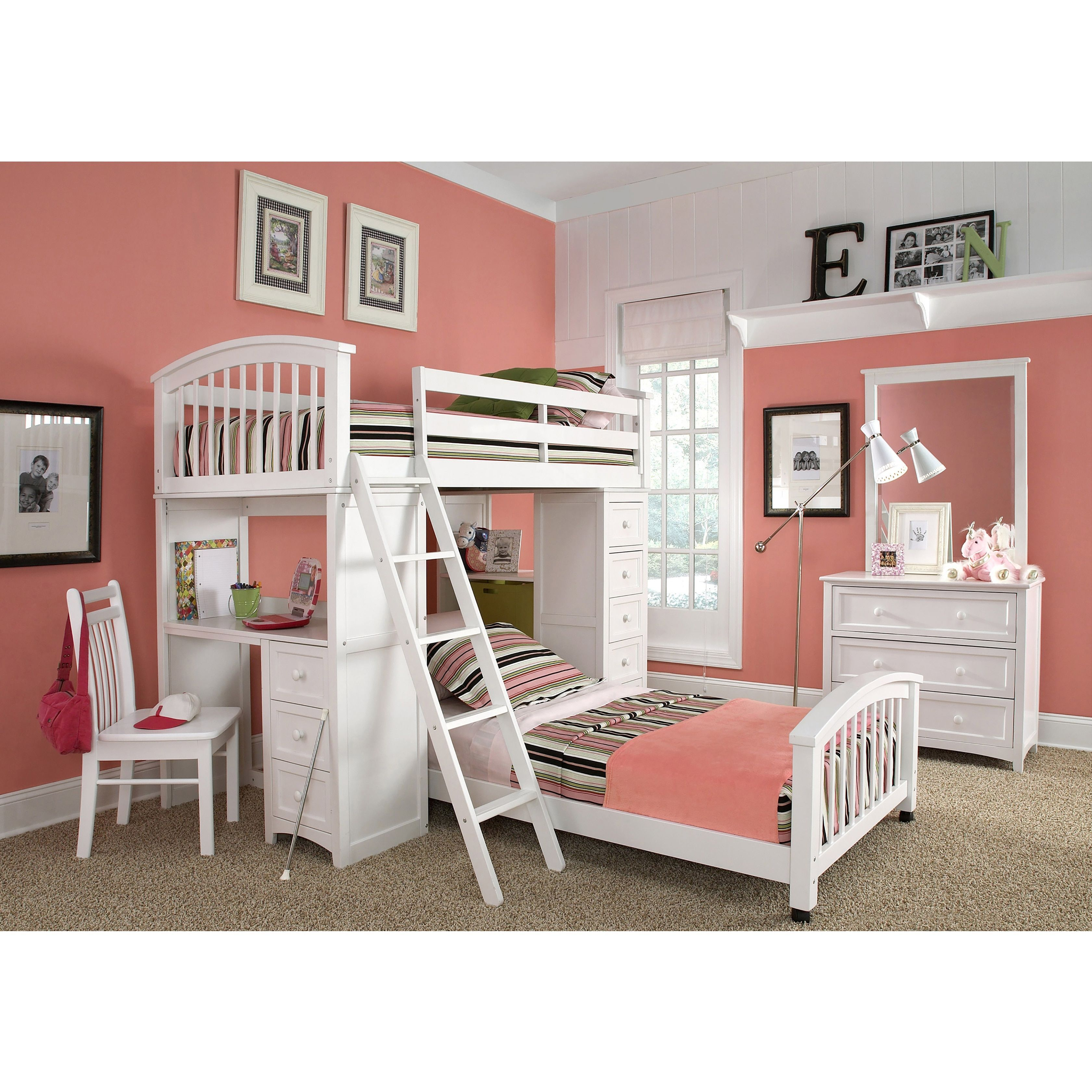 Cute loft bed ideas  School House Student Loft White and Lower Twin Bed Student Loft