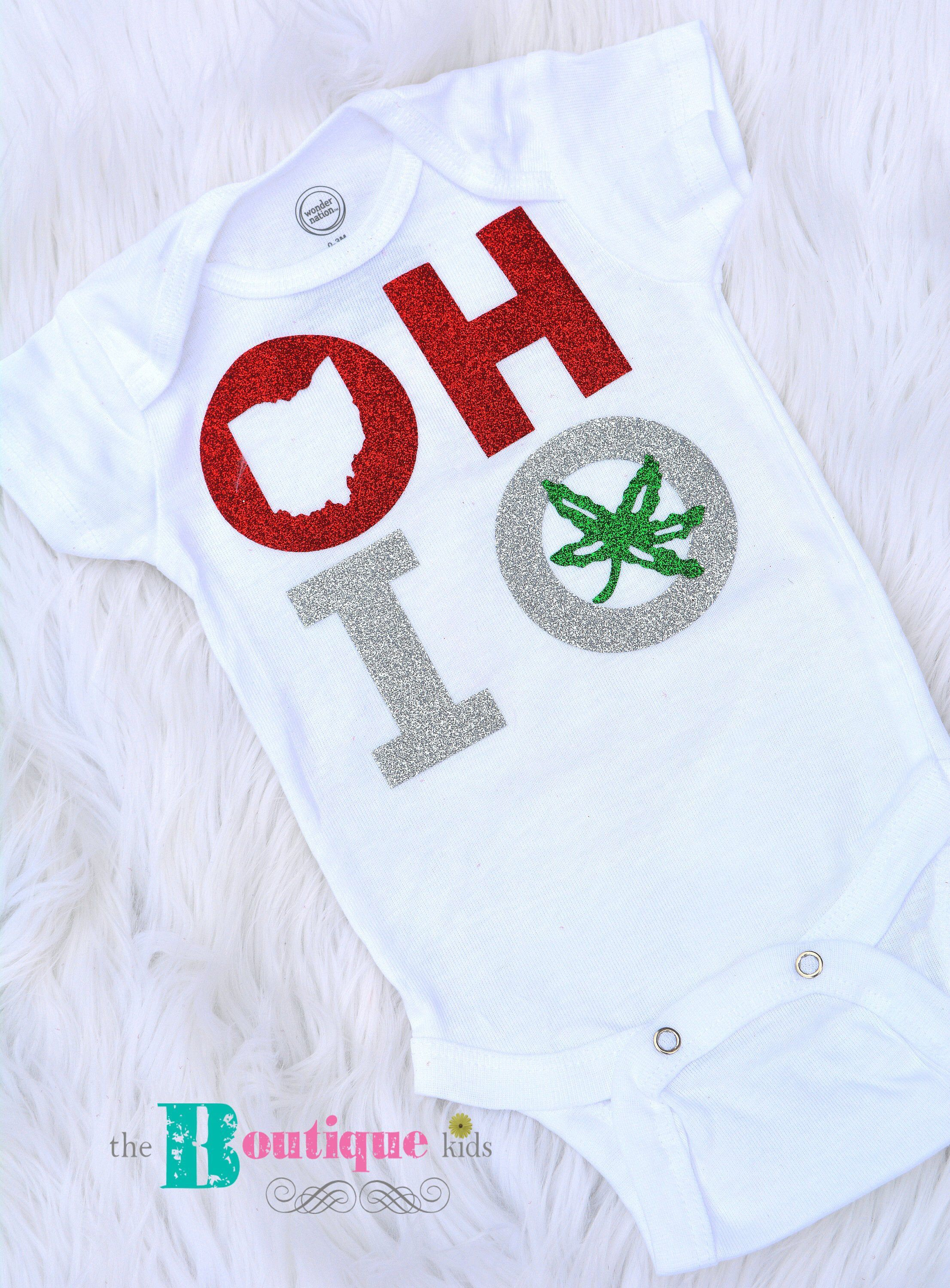 The Boutique kids baby girl Glitter Ohio State Buckeyes onesie outfit OHIO baby gift unisex neutral Ohio state baby shower gift OSU Glitter
