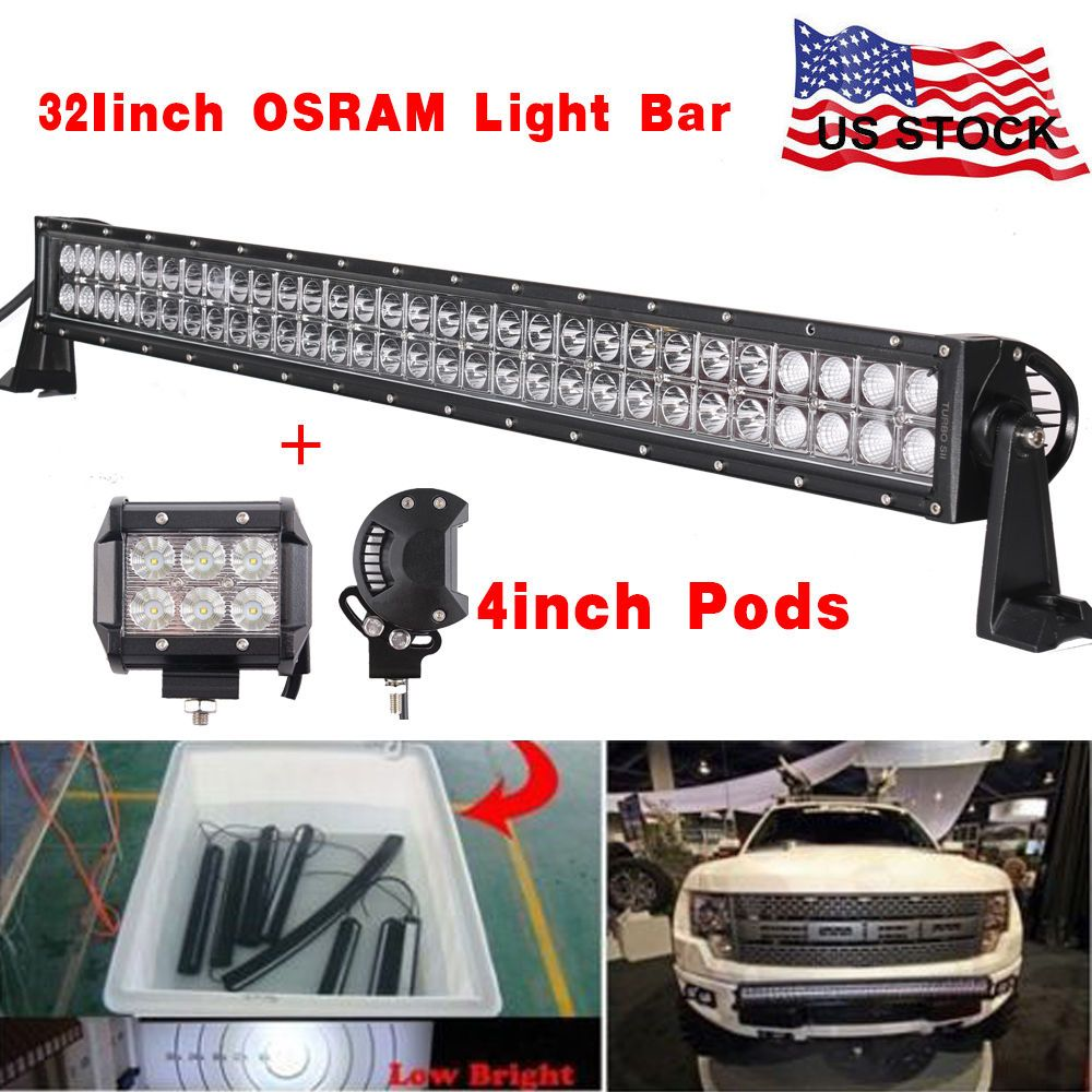 32inch combo led light bar 2x 4 cree pods bumper offroad suv jeep 32inch combo led light bar 2x 4 cree pods bumper offroad suv jeep atv 30 34 aloadofball Image collections