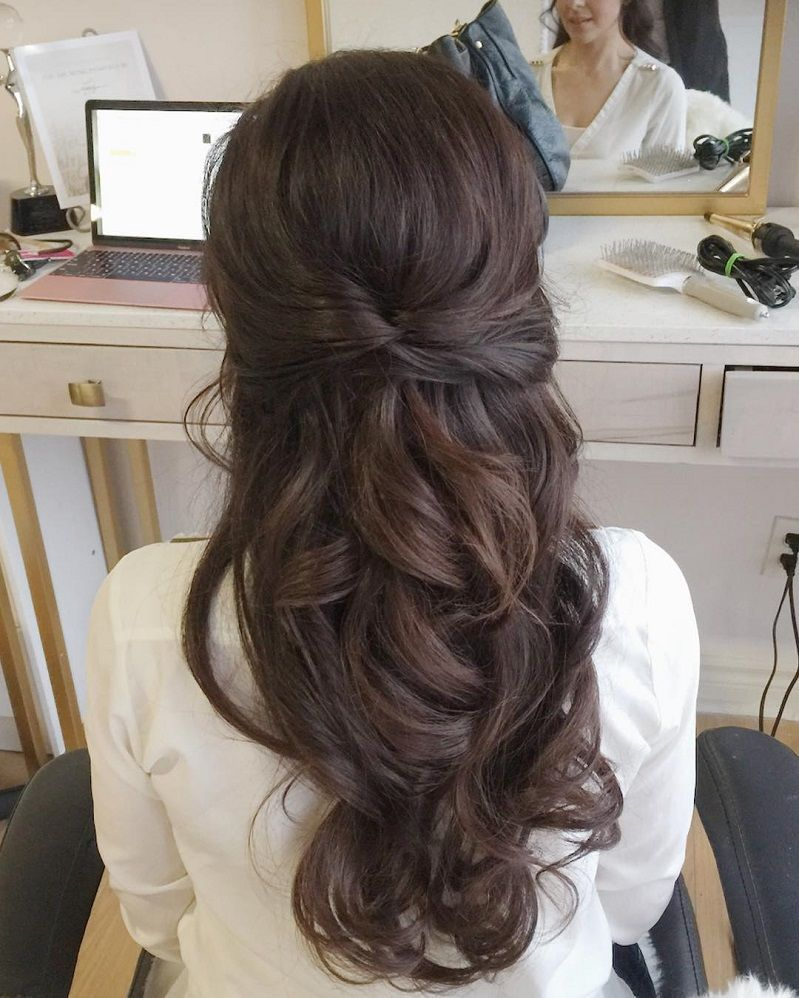 gorgeous half up half down hairstyles partial updo bridal