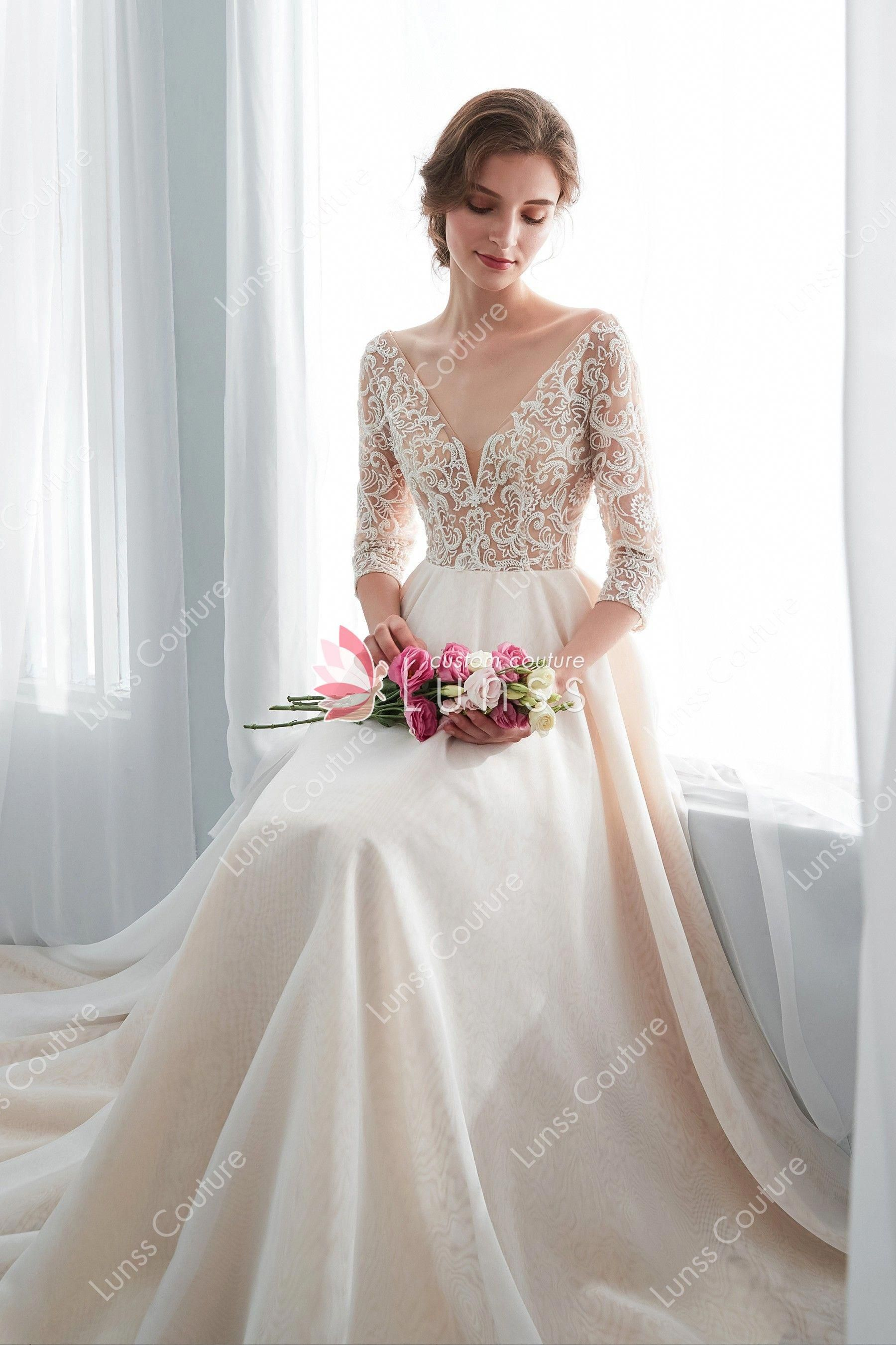 Champagne Beaded Lace Organza Wedding Gown With 34 Sleeve Champagneweddingdress Wedding Dress Champagne Conservative Wedding Gowns Wedding Dress Long Sleeve [ 2700 x 1800 Pixel ]