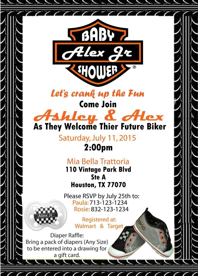 Harley Davidson Babyshower Invite Baby Shower Ideas Pinterest