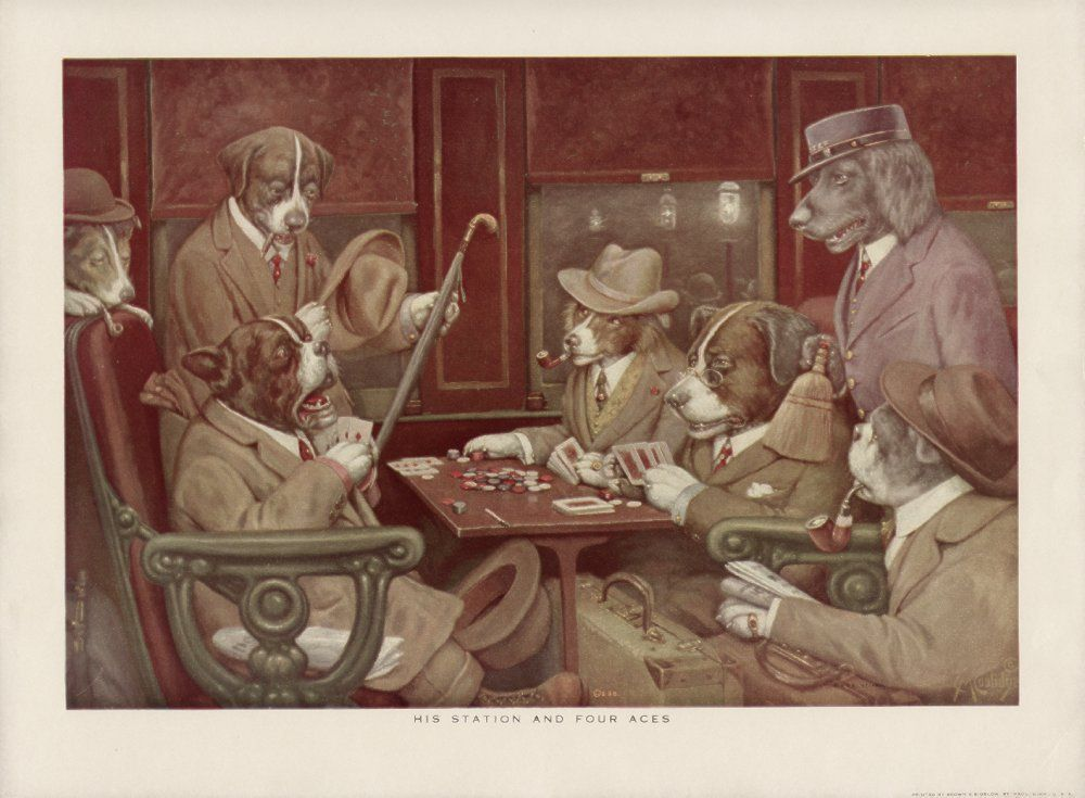 His Station And Four Aces By Cassius Marcellus Coolidge Dogs Playing Poker Vintage Dog Dogs