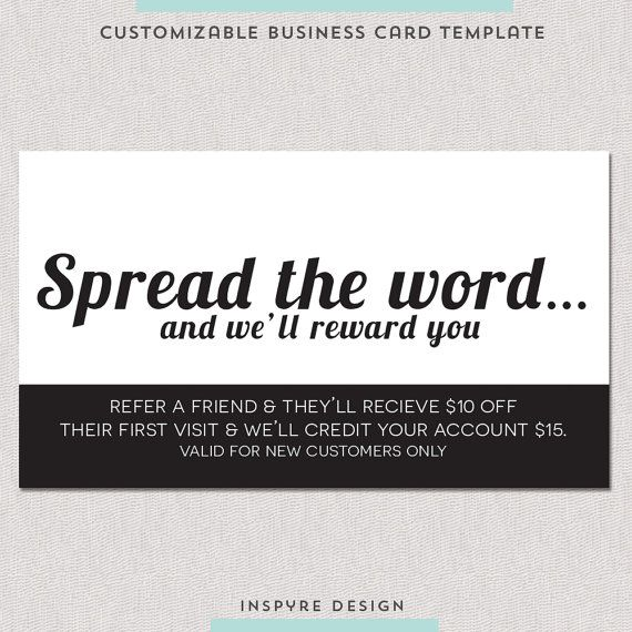 Salon Referral Business Card Referral card had a simple and clean - contact card template for word