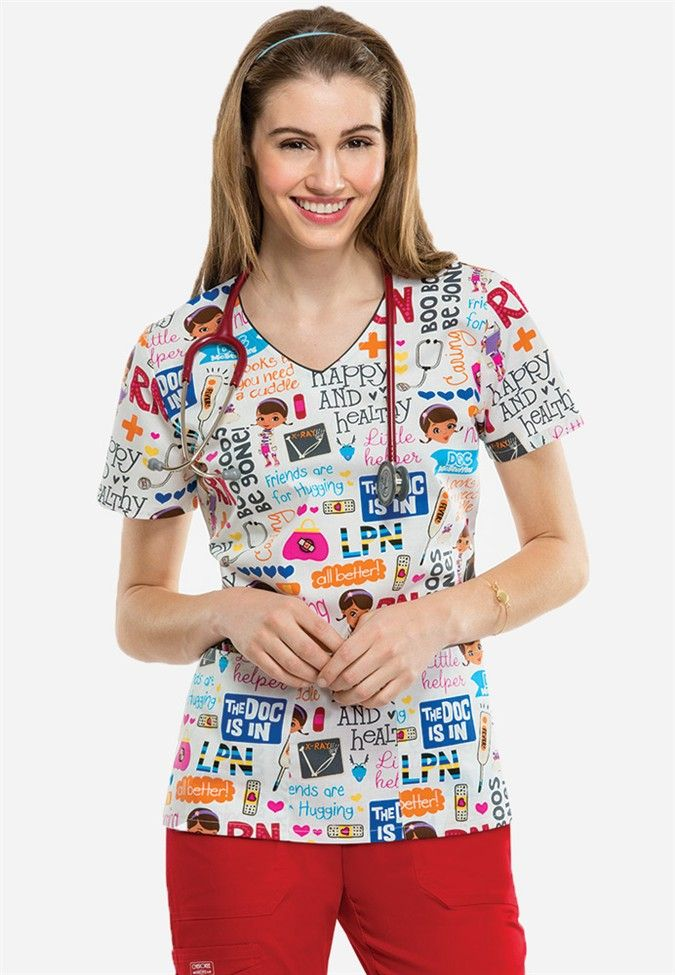 Cherokee Tooniforms Doc McStuffins print scrub top. - Scrubs and Beyond