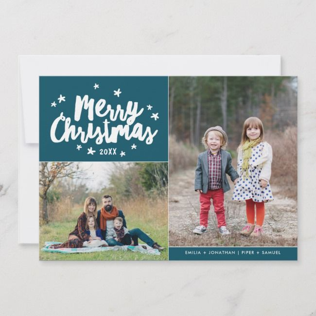 Merry Christmas Hand Lettered 2 Photo Holiday