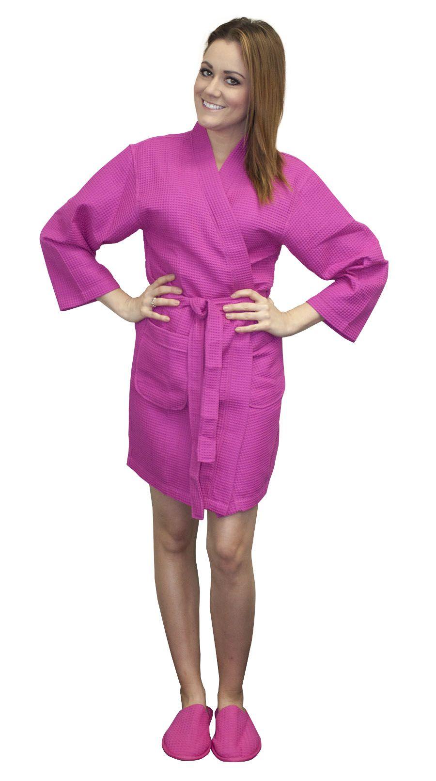 bf30a34e08 Thigh Length Waffle Weave Kimono Robe