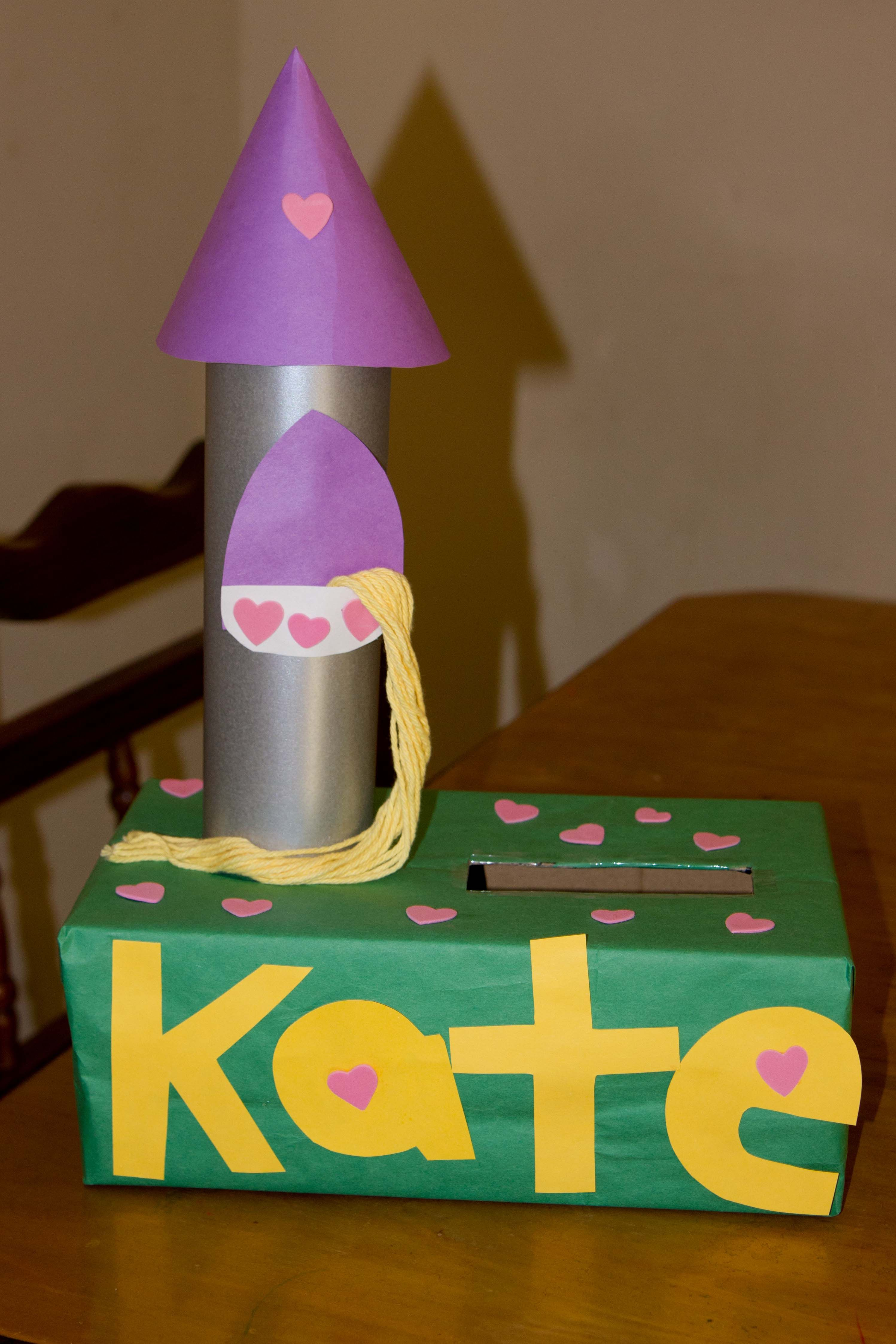 Valentines Day Box Tangled Tower -  Hand Me Down Ideas #Tangled #Rapunzel