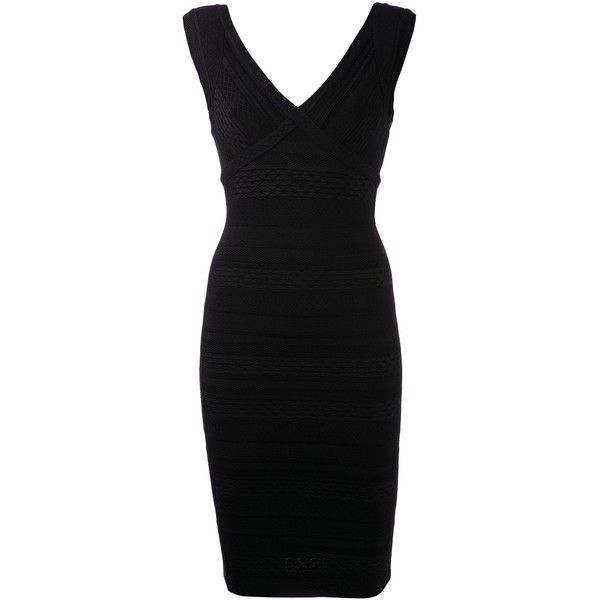 Hervé Léger textured bandage dress (12.965 VEF) ❤ liked on Polyvore featuring dresses, short dresses, black, v neck bodycon dress, black dress, bodycon dress and black bodycon dress
