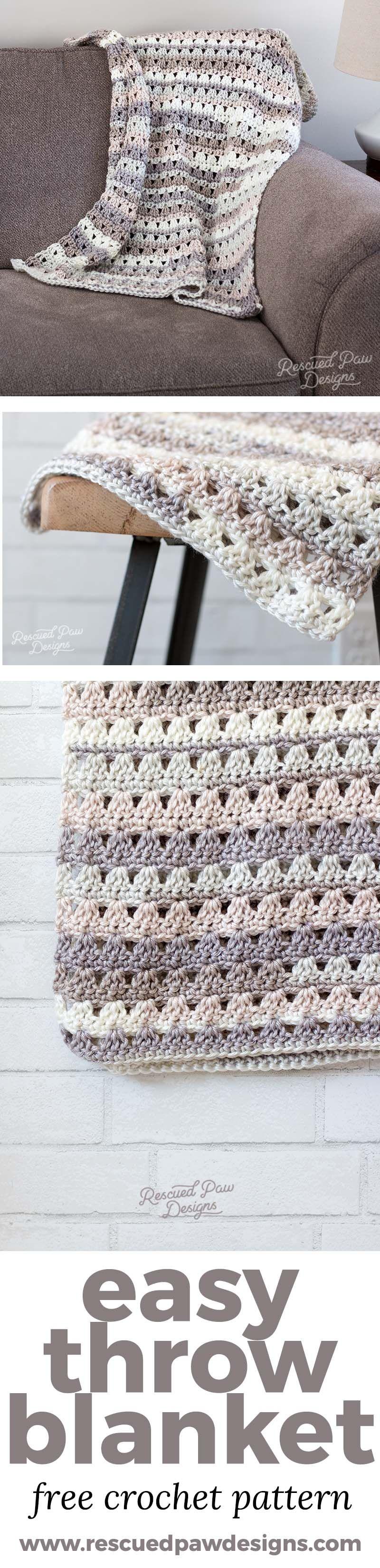 Alissa Easy Crochet Throw Blanket - Easy Crochet Blanket Pattern ...