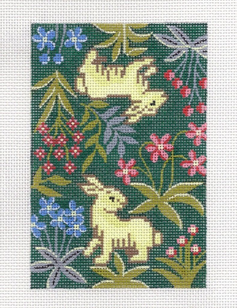 "LEE Tapestry Bunny Rabbits handpainted HP Needlepoint Canvas BC sz ~ 3.5"" x 5"""